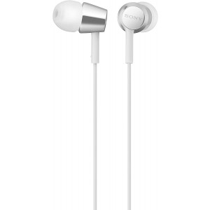 Sony Earbuds with Microphone, in-Ear Headphones and Volume Control, Built-in Mic Earphones for Smartphone Tablet Laptop 3.5mm Audio Plug Devices, White (MDREX155AP/W)