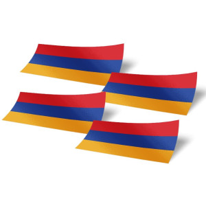 Armenia Armenians 4 Pack of 4 Inch Wide Country Flag Stickers Decal for Window Laptop Computer Vinyl Car Bumper 4