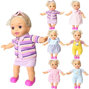 BOBO clothes Set of 6 For 12-14-16 Inch Alive Lovely Baby Doll Clothes Dress Outfits Costumes Dolly Pretty Doll Cloth Handmade Girl Christmas Birthday Gift (16)