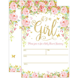 It's a Girl Baby Shower Invitations, Girl Baby Shower Invites, Floral Butterfly Whimsical, 20 Fill in Invitations and Envelopes