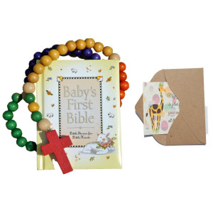 Bigdream Baby Catholic Baptism Gift Set, Includes Baby's First Rosary and Baby's First Bible, Perfect Baptism, Christening, Shower Gifts
