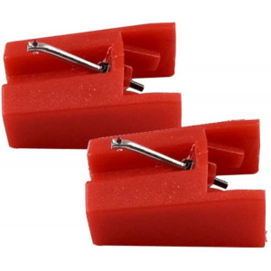 Replacement Record Player Stylus Turntable Needle for ION ICT04RS - ION TTUSB, TTUSB10, ITTCD10, LPDock, LP2CD, LP2Flash, IProfile and Profile Flash (Pack of 2) Red