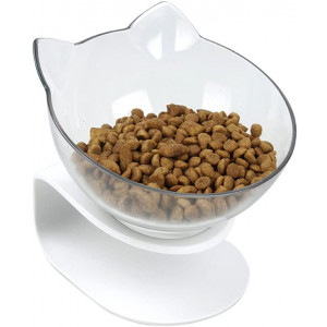 Pethouzz Slanted Cat Food Bowl Raised Stand Pet Bowls for Cats and Small Dogs