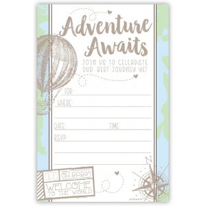 Adventure Travel Baby Shower Invitations (20 Count) with Envelopes