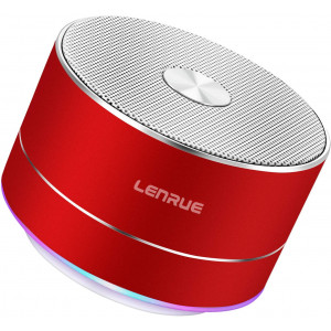 LENRUE Portable Wireless Bluetooth Speaker with Built-in-Mic,Handsfree Call,AUX Line,TF Card,HD Sound and Bass for iPhone Ipad Android Smartphone and More (Red)