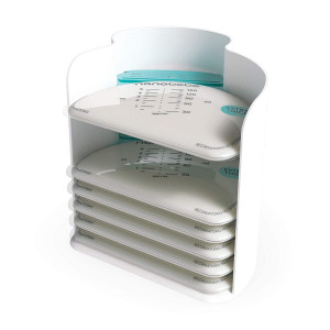nanobebe 25 Breastmilk Storage Bags and Organizer  Fast, Even Thawing and Warming Breastmilk Bags, Save Space and Track Pumping  Freezer and Fridge Breastfeeding Supplies