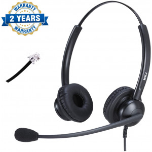 RJ9 Telephone Headset for Office Phones Call Center Headset with Noise Cancelling Microphone Compatible with Plantronics Altigen Polycom Gigaset Avaya Aastra AudioCodes Toshiba Fanvil Mitel Nortel