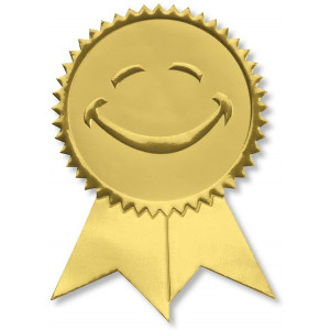 Smiling Face Embossed Gold Ribbon Certificate Seals, 102 Pack