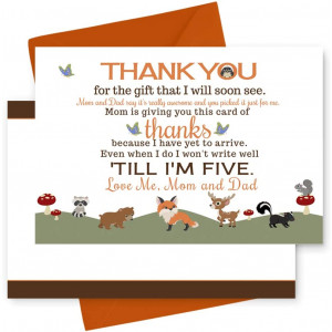 Woodland Baby Shower Thank You Cards and Orange Envelopes (15 Pack) Little Forest Animals - Neutral Boy or Girl - Babies Stationery Set