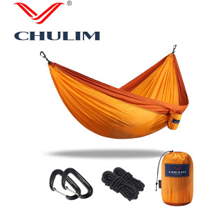 """CHULIM Double Camping Hammock with Tree Hanging Kit and 12kn Aluminum Wiregate Carabiner. 118""""L x 78""""W,Lightweight Portable Camping Gear.Parachute Nylon Hammock for Camping,Travel,Backpacking,Beach."""