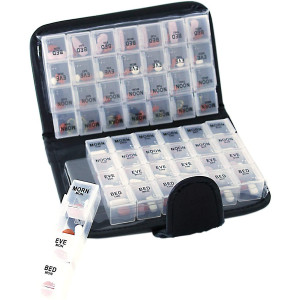 14 Day Pill and Vitamin Organizer 2 Weeks AM/PM 4 Doses a Day Travel Case Handy and Portable