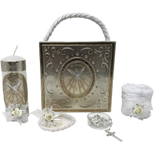 Premium Catholic Baptism Kit in a Repujado Box with Towel, Candle, Rosary and Shell for Baby Boys and Girls. Handmade in Mexico Gift for Godparents. Holy Spirit Baptism Candle Set. Kit de Bautizo.