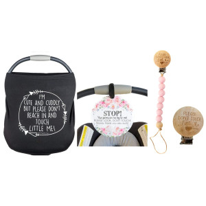 (Three Little Tots) Girl Newborn Baby Gift Bundle Set Including a Car Seat Cover, No Touching Baby Car Seat Sign and a Pacifier Clip  The Perfect Gift for New Mom!