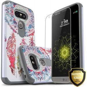 Star Shock Absorption LG V30 Case, LG V30 Plus Case, LG V35 ThinQ Case, with [Premium HD Screen Protector Included] Rugged Impact Phone Cover for LG V35 ThinQ/LG V30/V30 Plus /V30 + (Dream Catcher)