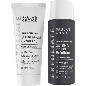 Paula's Choice SKIN PERFECTING 8% AHA Gel Exfoliant and 2% BHA Liquid Travel Duo, Facial Exfoliants for Blackheads and Wrinkles, Face Exfoliators w/Glycolic Acid Salicylic Acid
