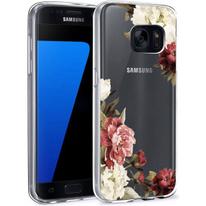 Ueokeird Galaxy S7 Case, S7 Case with Flowers, Slim Shockproof Clear Floral Pattern Soft Flexible TPU Back Phone Cove for Samsung Galaxy S7 (Blossom Flowers)
