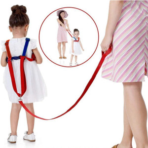 Toddler Leash and Harness for Child Safety,2 in 1 Anti Lost Wrist Link Baby Walking Harness for 0-5 Years Kids (BlueandRed)