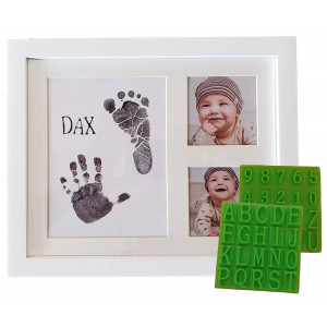 Ultimate Baby Ink Handprint Footprint Kit and Frame  with Premium Picture Photo Frame, Safe Ink Pad Stamp, Paper and Bonus Stencil. The Perfect Personalized Baby Shower, Newborn Gift Idea and Memento!