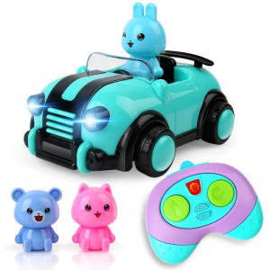 BeebeeRun Cartoon Remote Control Car,2CH Race Car Toys with Music,Lights and Animal for Kids Boys Girls Age 3+
