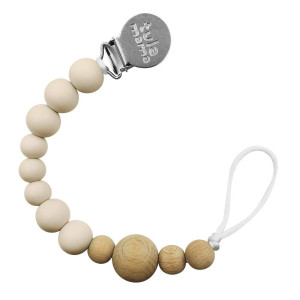 Tulamama Pacifier Clip for Boys and Girls, Fits Soothie, Mam, Nuk Pacifiers, Teething Toys and More. Made of Food Grade  Silicone and CPSC Compliant. Beige