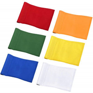 """KINGTOP Solid Golf Flags with Tube Inserted, All 8"""" L x 6"""" H, Putting Green Flags for Yard, 420D Nylon Mini Pin Flags"""