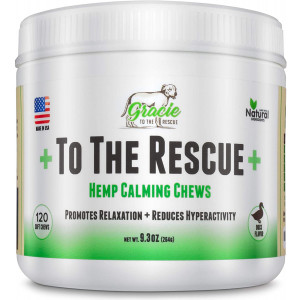 Gracie To The Rescue Calming Treats for Dogs | 120 Soft Chews Dogs -Treats for Anxiety Relief, Separation, Motion Sickness, Hyperactive Behavior, Composure Aid, Thunder Storms, Chewing and Barking