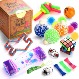 Sensory Fidget Toys Set, 25 Pcs., Stress Relief and Anti-Anxiety Tools Bundle for Kids and Adults, Marble and Mesh, Pack of Squeeze Balls, Soybean Squeeze, Flippy Chain, Liquid Motion Timer and More