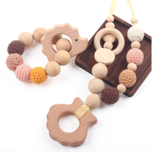 Baby Teething Necklace for Mom and Teether Bracelet for Babies Pack of 2 Perfect Baby Shower Gift 100% BPA Free, Hedgehog and Shell