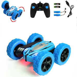 Jellydog Toy Stunt Rc Car, Remote Control Car, 360 Degree Flips Double Sided Rotating Race Car, High Speed Flashing Remote Controlled Car for Kids,Blue