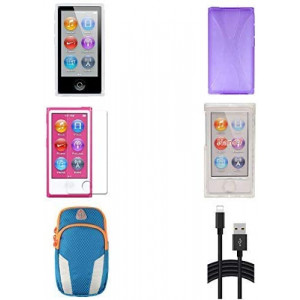 Aiboco 6 Accessories kit for iPod Nano 7 7th Generation Slim TPU Rubber Case + Soft Clear Case Skin + Clear Hard Case + Charging Cable + Sports Armband + Screen Protector (Purple)