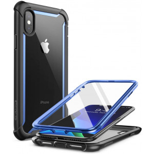"""i-Blason Ares Full-Body Rugged Clear Bumper Case for iPhone Xs Max 2018 Release, Blue, 6.5"""""""
