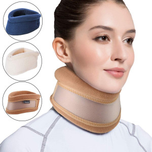Velpeau Neck Brace -Foam Cervical Collar - Soft Neck Support Relieves Pain and Pressure in Spine - Wraps Aligns Stabilizes Vertebrae - Can Be Used During Sleep (Dual-use, Brown, Large, 3)