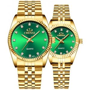 Couple Watches Swiss Brand Golden Watch Men Women Stainless Steel Waterproof Quartz Watch