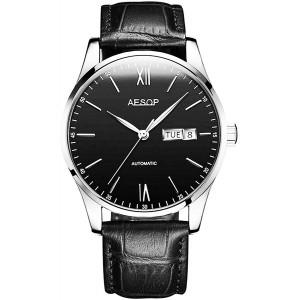 Men Fashion Simple Automatic Mechanical Watch Ultra Thin Case Waterproof Leather Strap Minimalist Wristwatch