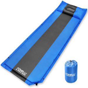 Foxelli Sleeping Pad - Comfortable and Compact Self Inflating Sleeping Mat with Pillow, Lightweight, Moisture-Proof Camping Pad, Perfect for Hiking and Backpacking