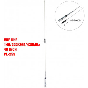 Mobile Antenna VHF UHF (146/222/365/435MHz) Quad Band 40 Inch Foldable High Gain Ham Radio Antenna with PL-259 Connector for Cars