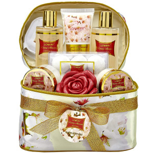 Bath and Body Gift Basket For Women  Honey Almond Home Spa Set with Fragrant Lotions, 6 Bath Bombs, Reusable Travel Cosmetics Bag and More - 14 Piece Set