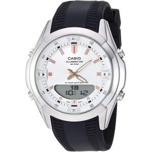 Casio Men's Dress Stainless Steel Quartz Watch with Resin Strap, Black, 21 (Model: AMW-840-7ACVCF)
