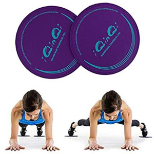 iQinQi Exercise Sliders, Dual Sided Core Sliders, Gliders Exercise Discs Use on Hardwood Floors, Workout Sliders Fitness Discs Abdominal and Total Body Gym Exercise Equipment for Home, Travel