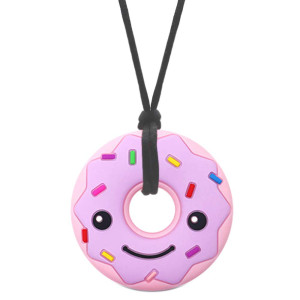 Sensory Oral Motor Aide Chew Necklace for Kids Adults, Silicone Donut Chewy Pendant Jewelry for Autism, ADHD, Baby Nursing or Special Needs - Reduces Chewing Biting Fidgeting for Heavy Chewers