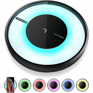 Nillkin Wireless Charger, 10W Fast Qi Wireless Charging Pad [Colorful LED Light] 7.5W Compatible with iPhone 11/11 Pro/11 Pro Max/Xs Max/XS/XR/X/8 Plus,10W for Samsung Galaxy S20/S10/S10 Plus/Note 10