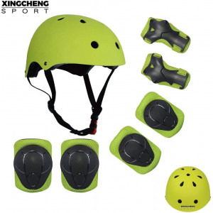 SLA-SHOP Kids Boys and Girls Protective Gear Set, Outdoor Sports Safety Equipment 7Pcs Child Helmet Knee andElbow Pads Wrist Guards for Roller Scooter Skateboard Bicycle3-8Years Old