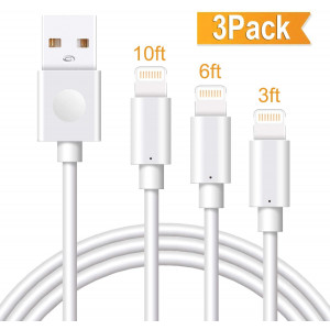Marchpower iPhone Charger Cable 3Pack 3/6/10FT Apple MFi Certified Lightning Cord USB A Fast Charging Compatible with iPhone SE 11 Pro MAX X Xs XR 8 Plus 7 Plus 6S Plus 5S SE iPod iPad Pro Touch Mini