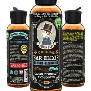 MISTER BEN'S Original Ear Elixir w/Spearmit for Dogs and Cats  NO Sting and Alcohol Free - Provides Fast Relief from Infections, itching, Odors, Bacteria, Mites, Fungus, Yeast