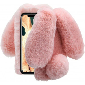 Aearl iPhone XR Case,iPhone XR Rabbit Fur Ball Case,Luxury Cute 3D Homemade Diamond Winter Warm Soft Furry Fluffy Fuzzy Bunny Ear Plush Back Phone Cover for Girls Women-Pink(iPhone XR 6.1 inch 2018)