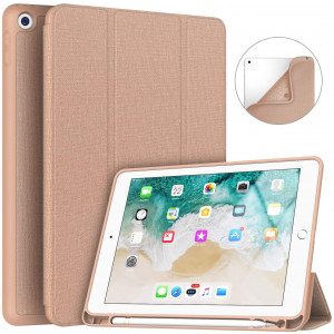Soke iPad 9.7 2018/2017 Case with Pencil Holder, Smart iPad Case Trifold Stand with Shockproof Soft TPU Back Cover and Auto Sleep/Wake Function for iPad 9.7 inch 5th/6th Generation, Rose Gold