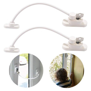 2pcs Baby Safety Locks, Childproof Cable Restrictor for Window and Sliding Door, Baby/Child Security Lock and Key Device
