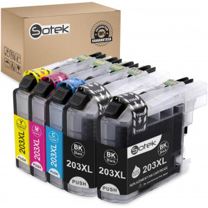 Sotek Compatible Ink Cartridge Replacement for LC203XL LC203 LC201, Use with MFC J480DW J680DW J880DW J460DW J485DW J885DW J5520DW J4320DW J4420DW J4620DW J5620 J5720DW (1 Set+ 1 BK)