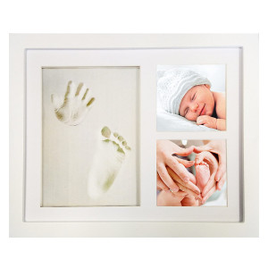 """White Clay Hand/Footprint Photo Frame for Babies, Kids, and Pets  Includes 9 x 11 Colored MDF Wood Photo Frame, Roller, Mounting Hardware, and Instructions -""""Pose""""ies"""