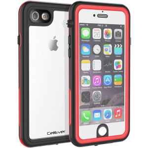 CellEver iPhone 6 / 6s Waterproof Case Shockproof IP68 Certified SandProof Snowproof Full Body Protective Clear Transparent Cover Fits Apple iPhone 6 and iPhone 6s (4.7 Inch) KZ Red